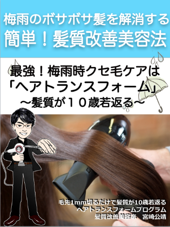 【無料eBook】梅雨のボサボサ髪を解消する!簡単!髪質改善美容法